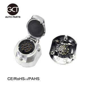 EU 12 V  Truck and Trailer 13+1 Pin  Flat round  Metal Aluminum Plug-Socket