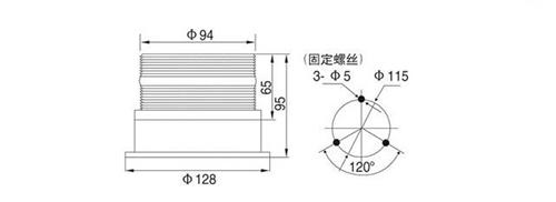频闪型警告灯QF94亮度LED交通警示灯一体式设备信号灯带磁座尺寸图